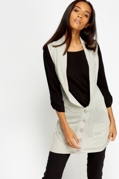 Sleeveless Knitted Cardigan