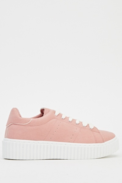 Suedette Flatform Low Top Trainers