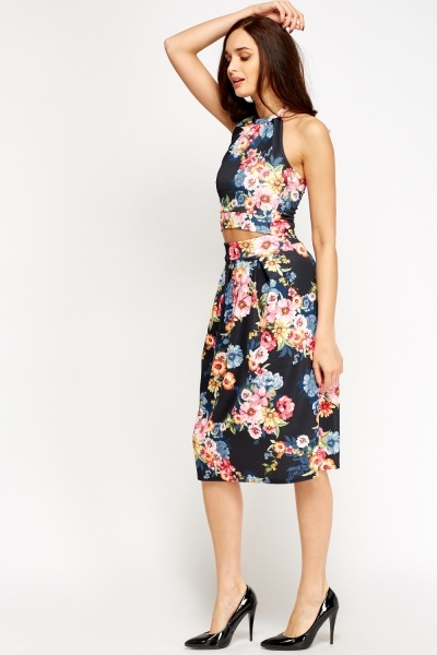 floral crop and midi skirt set just 163 5