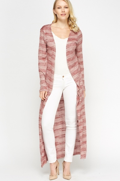 Speckled Striped Long Line Thin Cardigan