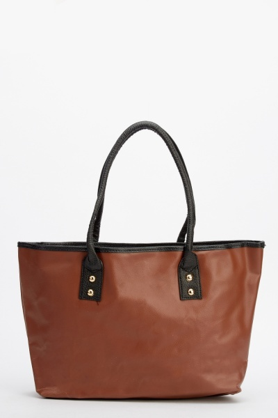 Image of Contrasted Handle Faux Leather Shopper Bag