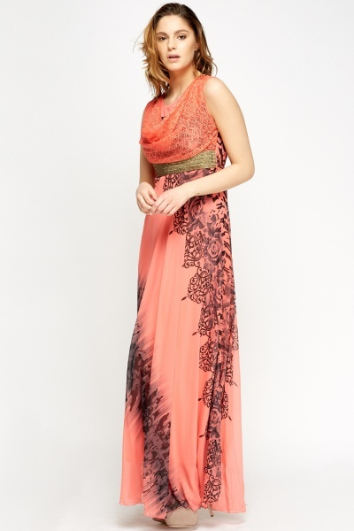 Cowl Neck Mix Print Maxi Dress