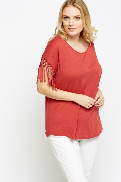 Tassel Sleeve T-Shirt