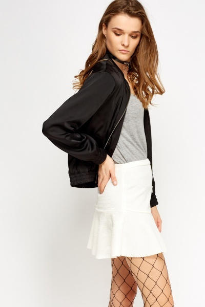 Black Elasticated Bomber Jacket