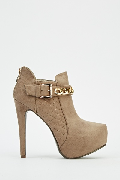 Buckle Chain Heeled Ankle Boots