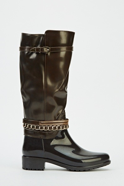 Chained Embellished PVC Boots