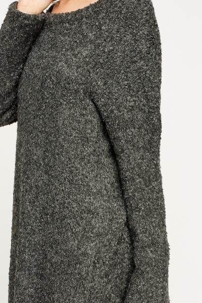 Bobble Knit Long Jumper - Ash - Just ?5
