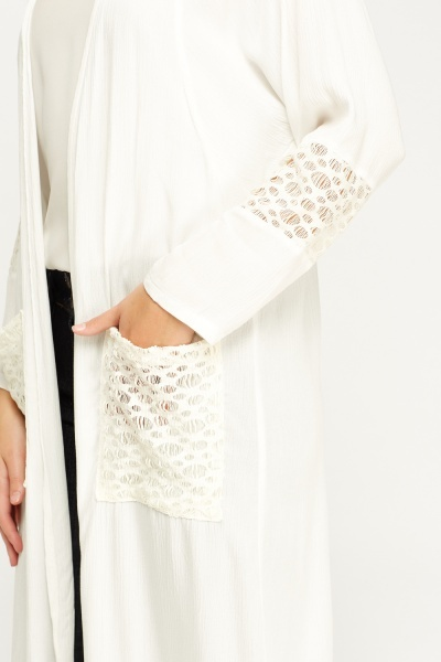 Mesh Insert Open Long Top Cardigan
