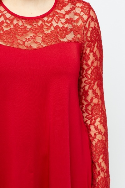 Red Lace Insert Top