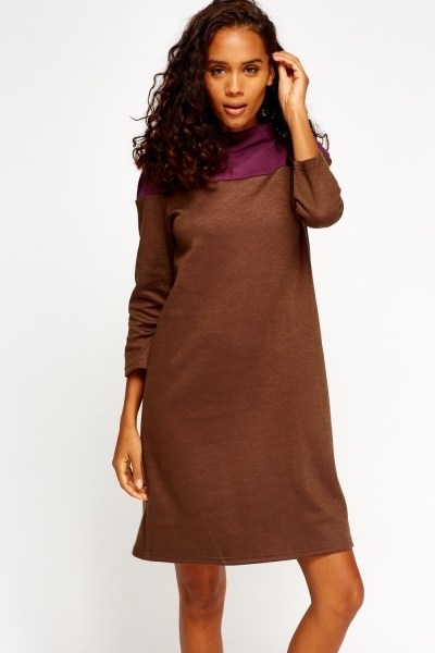 High Neck Colour Block Jumper Dress