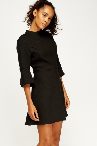 Textured Flare Sleeve Dress
