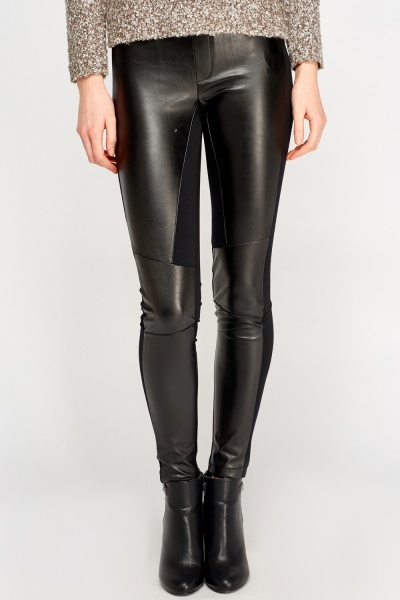 Faux Leather Front Black Leggings