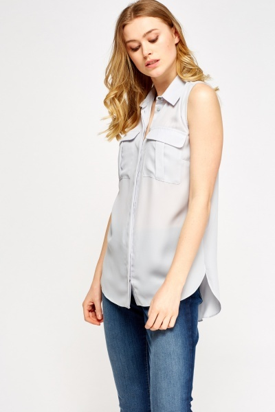 Pocket Front Sleeveless Blouse