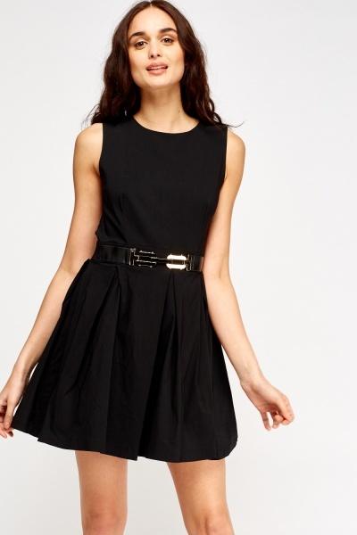 Image of Mesh Insert Belted Skater Dress