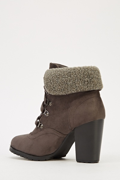 faux fur trim suedette heeled boots just 163 5