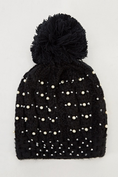 Image of Black Diamante Knitted Pom Beanie Hat