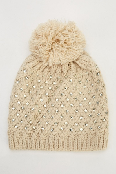 Image of Diamante Knitted Pom Beanie Hat