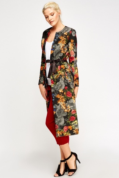 Metallic Insert Floral Long Line Boyfriend Jacket