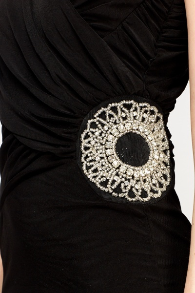 Embellished Ruched Black Dress