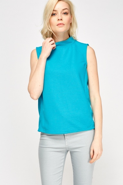 Image of Teal Ribbed High Neck Top