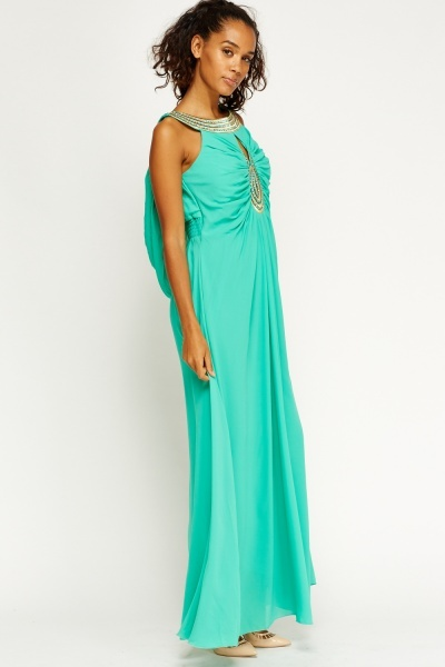 Embroidered Ruched Drape Maxi Dress