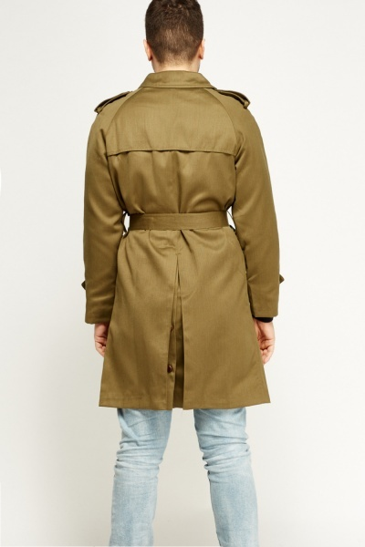 Khaki Longline Trench Coat