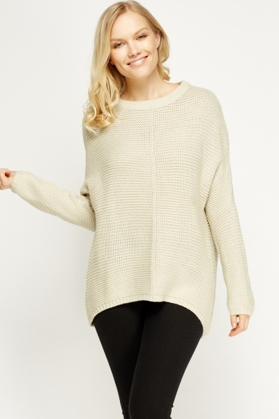 Light Peach Dip Hem Jumper