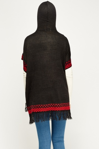 Aztec Print Hooded Cape
