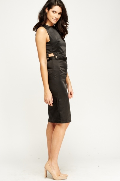 Button Cut Satin Dress