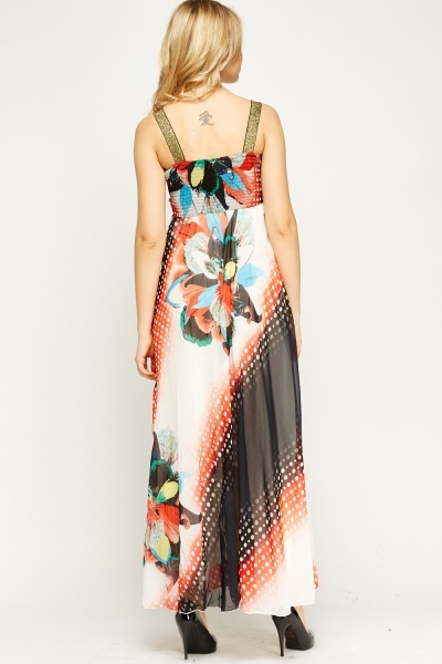 Metallic Contrast Printed Maxi Dress