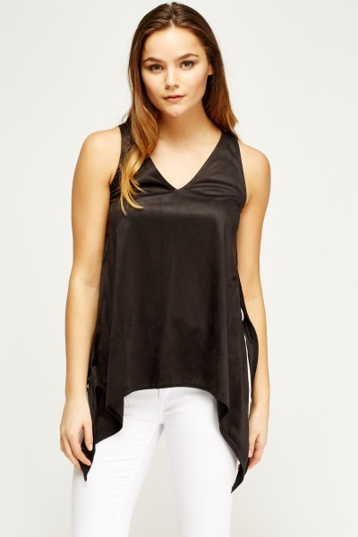 Suedette V-Neck Sleeveless Top