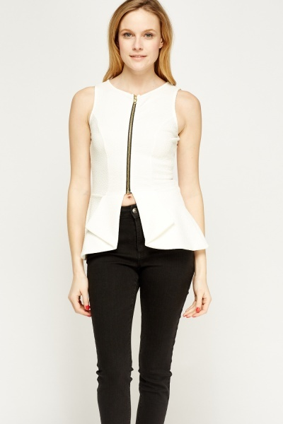 Textured Zipped Front Peplum Top