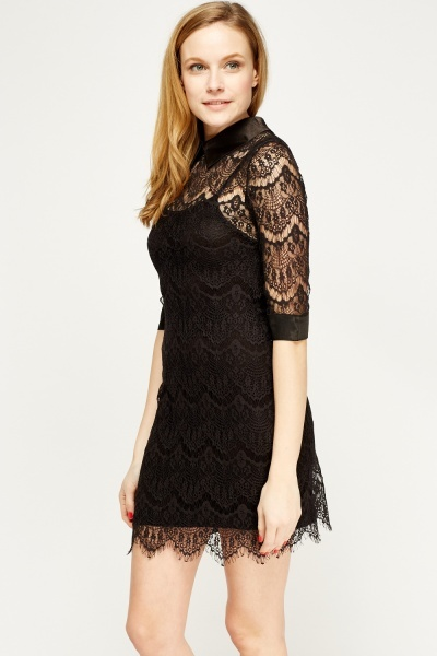 Lace Overlay Black Dress
