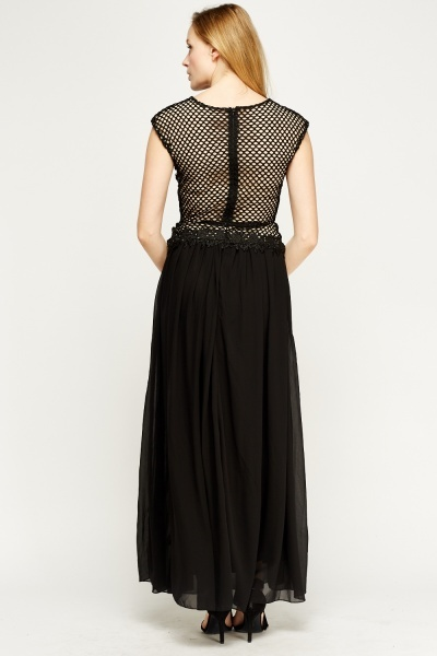 Mesh Overlay Maxi Dress Just 163 5