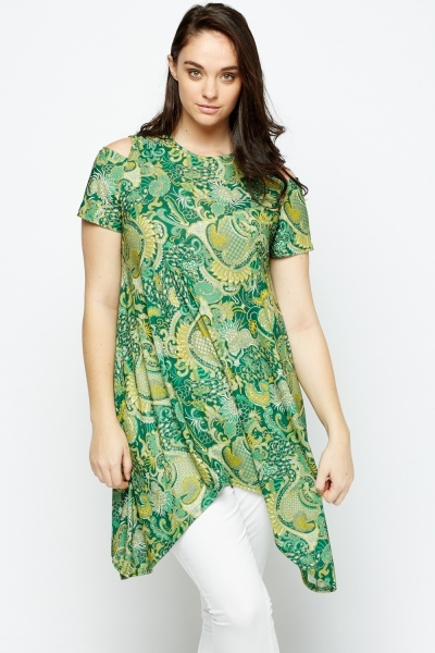 Mix Printed Cold Shoulder Asymmetric Top