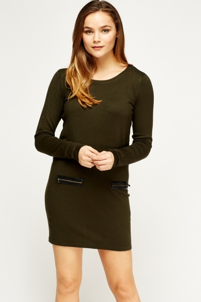 Thin Knit Jumper Zip Dress