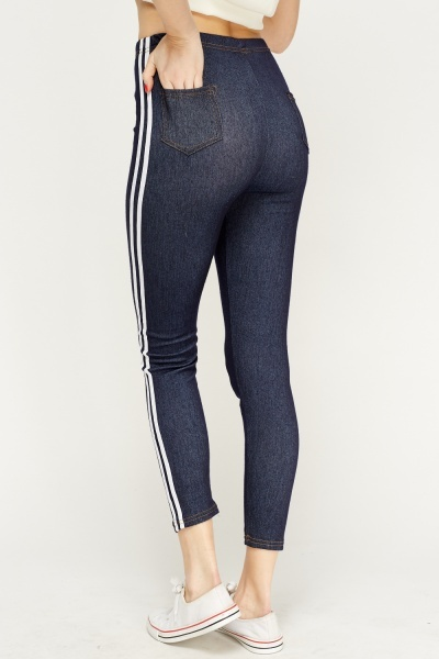 Contrast Trim Denim Leggings