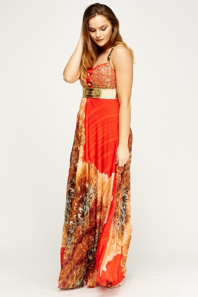 Embroidered Contrast Metallic Maxi Dress