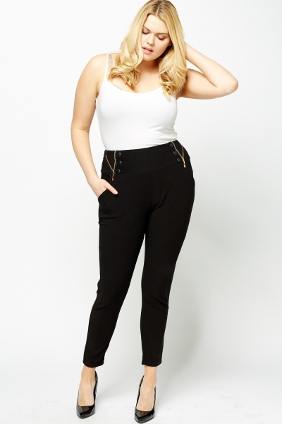 High Waisted Button Zip Detailed Trousers