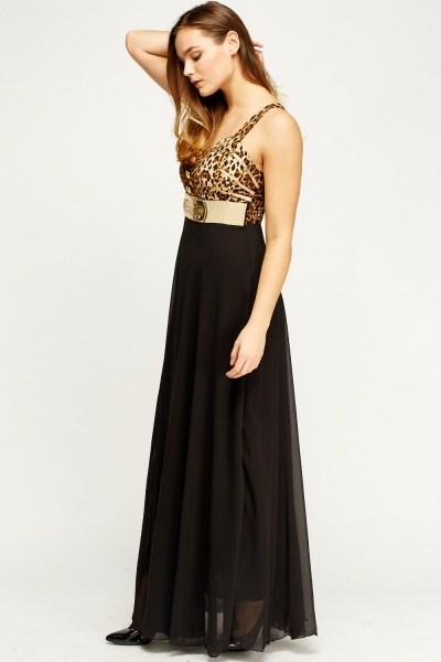 Leopard Print Contrast Sheer Maxi Dress