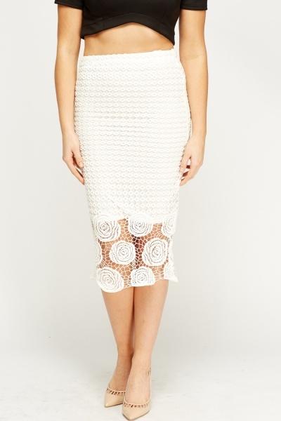mesh overlay white midi skirt just 163 5