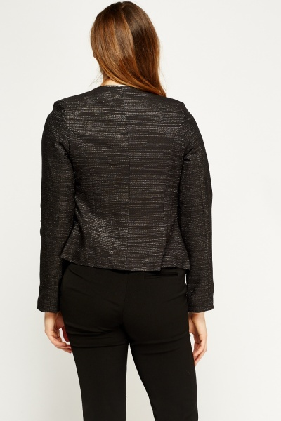 Metallic Insert Cropped Blazer