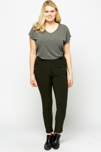 Button High Waisted Trousers
