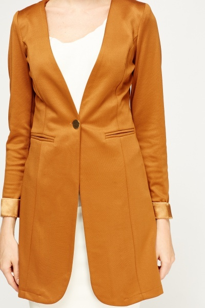 Rolled Sleeve Long Line Jacket
