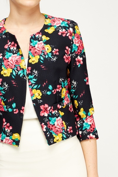 Textured Floral Mixed Blazer