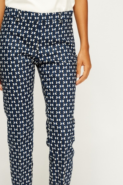 Dark Blue Printed Cigarette Trousers