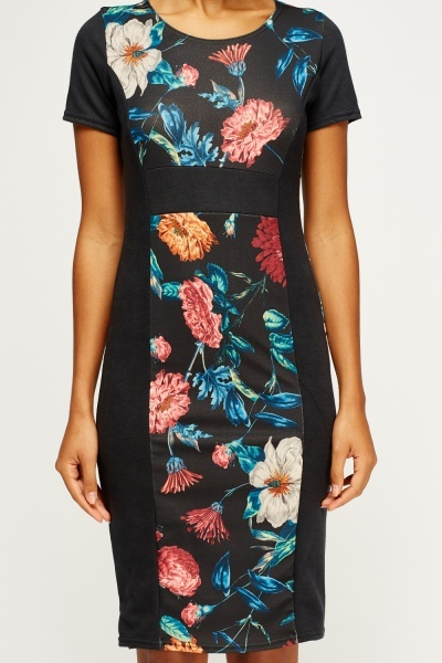 Floral Charcoal Panel Dress