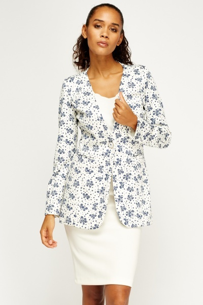 Floral Printed Long Blazer