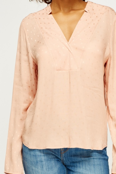 Peach Low Neck Blouse