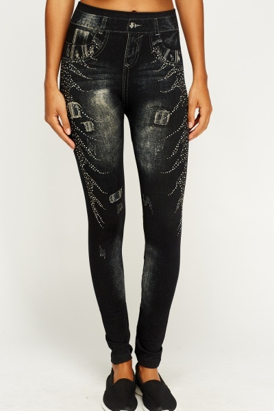 Printed Studded Leggings
